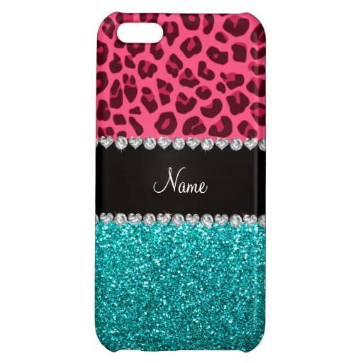Personalized name pink leopard turquoise glitter iPhone 5C case