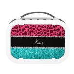 Personalized name pink leopard turquoise glitter lunchbox