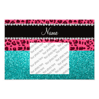 Personalized name pink leopard turquoise glitter photo print