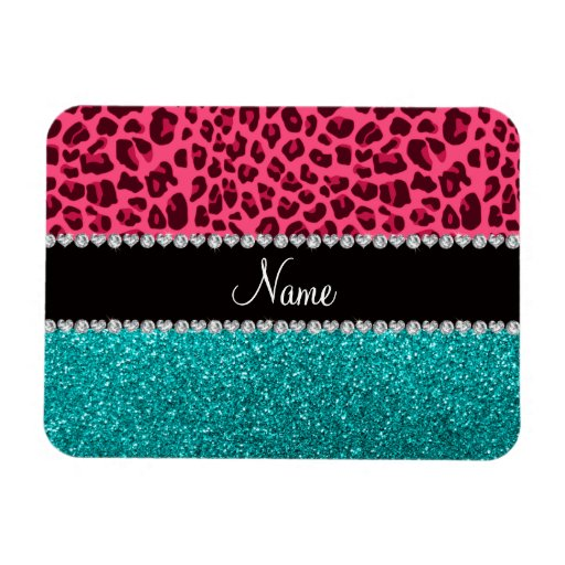 Personalized name pink leopard turquoise glitter rectangle magnet
