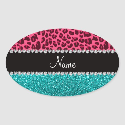 Personalized name pink leopard turquoise glitter stickers