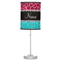 Personalized name pink leopard turquoise glitter table lamp