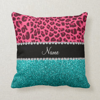 Personalized name pink leopard turquoise glitter throw pillow