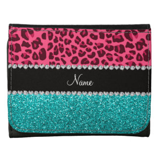 Personalized name pink leopard turquoise glitter leather tri-fold wallet
