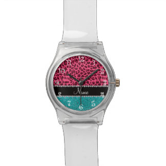 Personalized name pink leopard turquoise glitter wristwatch
