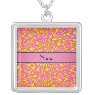 Personalized name pink lightning bolts necklace