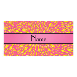 Personalized name pink lightning bolts photo greeting card