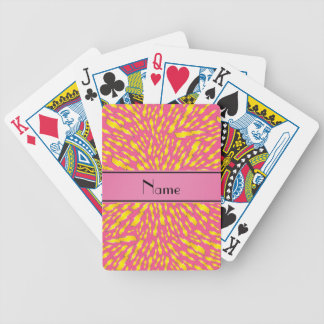 Personalized name pink lightning bolts bicycle playing cards