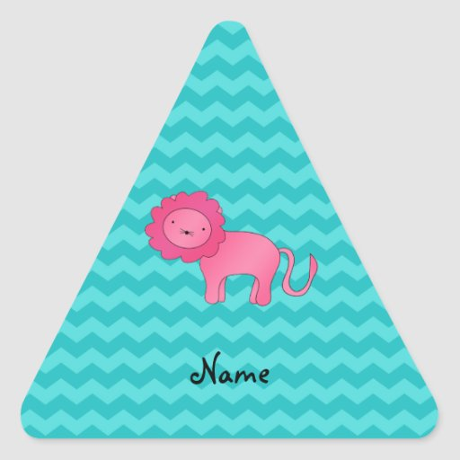 Personalized name pink lion turquoise chevrons triangle stickers