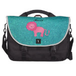 Personalized name pink lion turquoise glitter computer bag