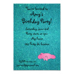 Personalized name pink manatee turquoise glitter invitations