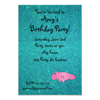 """Personalized name pink manatee turquoise glitter 3.5"""" x 5"""" invitation card"""