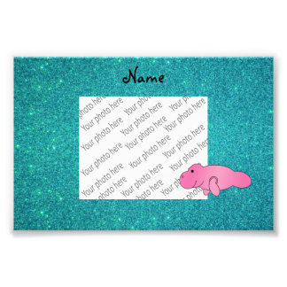 Personalized name pink manatee turquoise glitter photo print