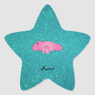 Personalized name pink manatee turquoise glitter star sticker