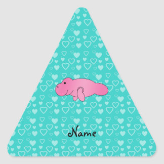 Personalized name pink manatee turquoise hearts triangle sticker