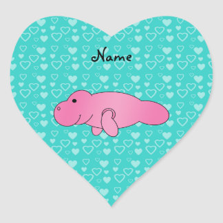 Personalized name pink manatee turquoise hearts heart sticker