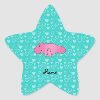 Personalized name pink manatee turquoise hearts star sticker