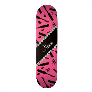 Personalized name pink mascara hearts bows skate board deck