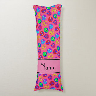 Personalized name pink mexican wrestling masks body pillow