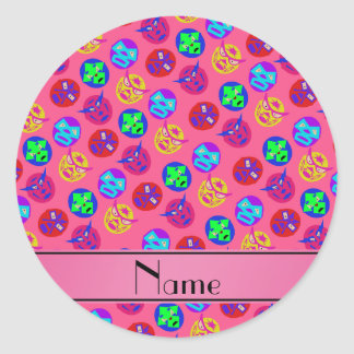 Personalized name pink mexican wrestling masks classic round sticker