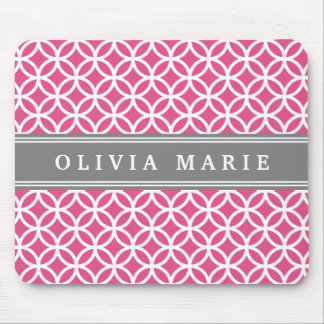 Personalized Name Pink Modern Circles Pattern Mouse Pad