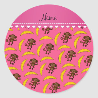 Personalized name pink monkey bananas classic round sticker