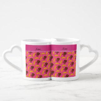 Personalized name pink monkey bananas couples' coffee mug set