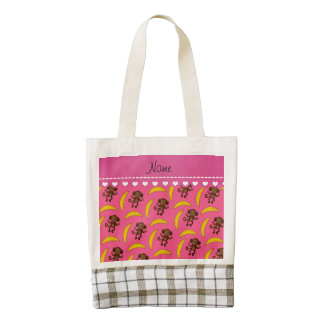 Personalized name pink monkey bananas zazzle HEART tote bag