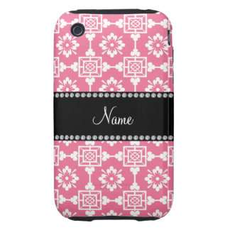 Personalized name pink moroccan trellis pattern iPhone 3 tough cases