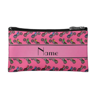 Personalized name pink motorcycles cosmetics bags