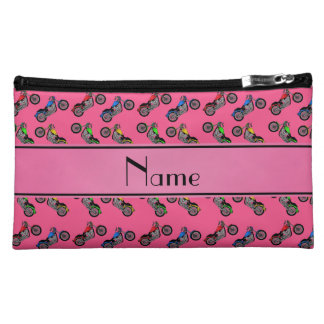 Personalized name pink motorcycles cosmetic bags