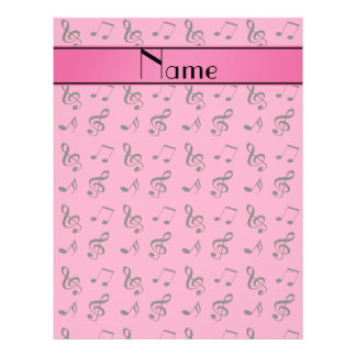 """Personalized name pink music notes 8.5"""" x 11"""" flyer"""