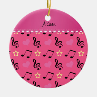 Personalized name pink music notes hearts stars ceramic ornament