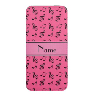 Personalized name pink music notes iPhone 5 pouch
