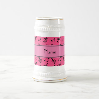 Personalized name pink music notes 18 oz beer stein