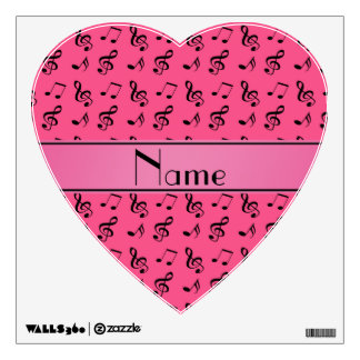 Personalized name pink music notes room stickers