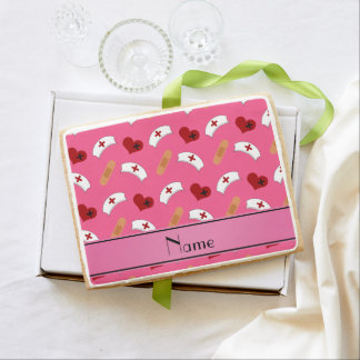 Personalized name pink nurse pattern jumbo cookie