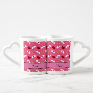 Personalized name pink nurse pattern couples' coffee mug set