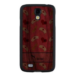 Personalized name pink nurse pattern carved® walnut galaxy s4 slim case