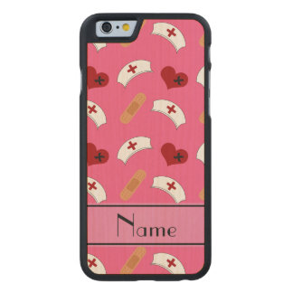 Personalized name pink nurse pattern carved® maple iPhone 6 case