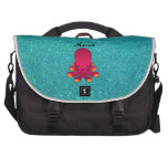 Personalized name pink octopus turquoise glitter commuter bag