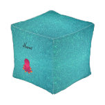 Personalized name pink octopus turquoise glitter cube pouf
