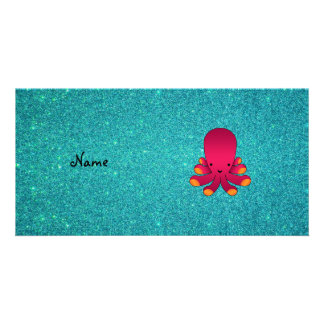 Personalized name pink octopus turquoise glitter photo card