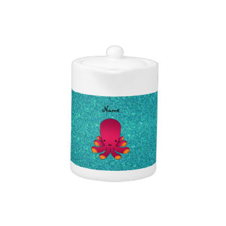 Personalized name pink octopus turquoise glitter teapot