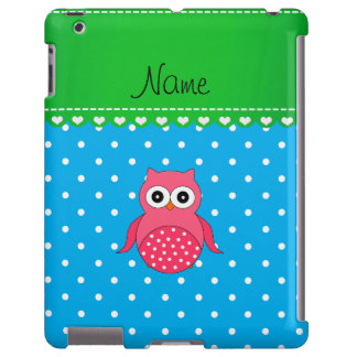 Personalized name pink owl blue polka dots