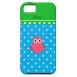 Personalized name pink owl blue polka dots iPhone 5 cover