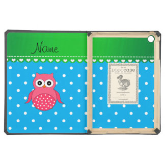 Personalized name pink owl blue polka dots case for iPad air