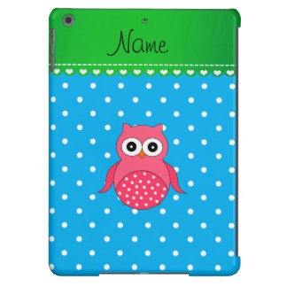 Personalized name pink owl blue polka dots cover for iPad air