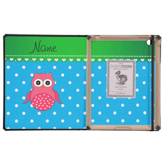 Personalized name pink owl blue polka dots cover for iPad