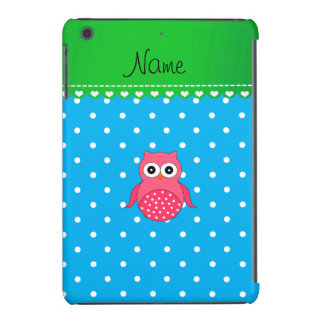 Personalized name pink owl blue polka dots iPad mini cases